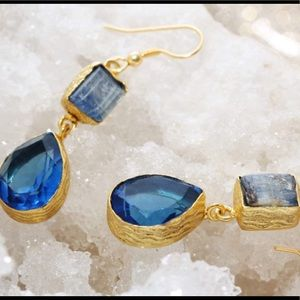 Sitara Collections Jewelry - Gold plated Kyanite & Hydro Quartz Earrings